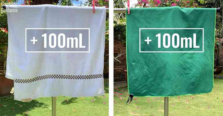 Adding 100mL (3.4 fluid ounces) of water to each towel (cotton and Wise Owl Outfitters towel).