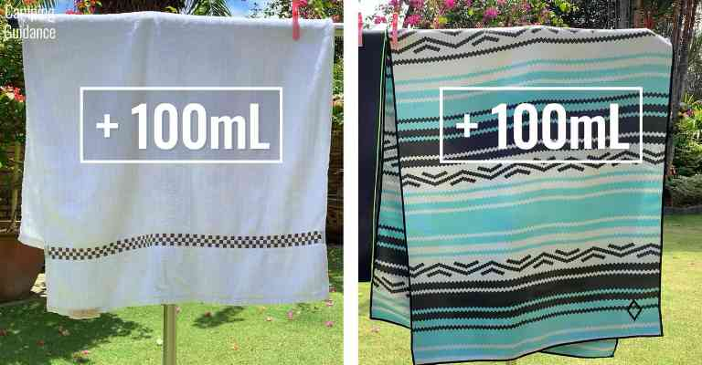 Adding 100mL (3.4 fluid ounces) of water to each towel (cotton and Nomadix Original towel).