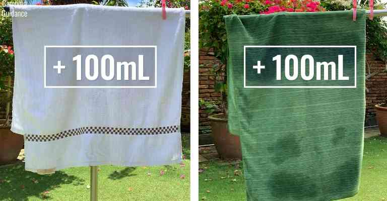 Adding 100mL (3.4 fluid ounces) of water to each towel (cotton towel and PackTowl Luxe).