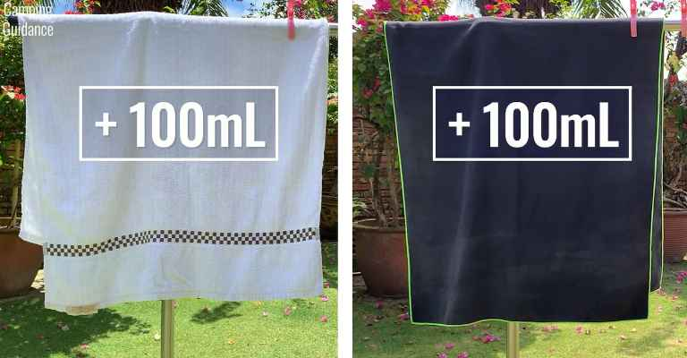 Adding 100mL (3.4 fluid ounces) of water to each towel (cotton towel and PackTowl Personal).