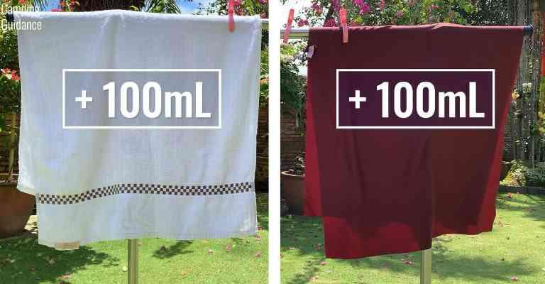 Adding 100mL (3.4 fluid ounces) of water to each towel (cotton towel and Matador NanoDry towel).