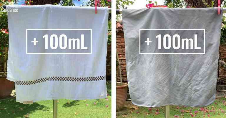 Adding 100mL (3.4 fluid ounces) of water to each towel (cotton and Sea to Summit Drylite towel).