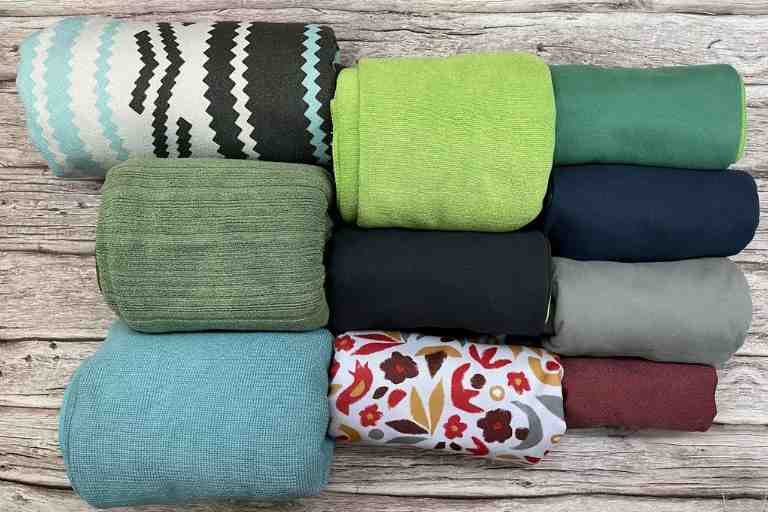 All the packed sizes of the 10 best camping towels that I bought and tested.