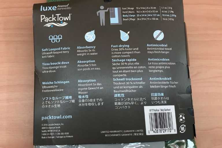 The back packaging of the PackTowl Luxe.