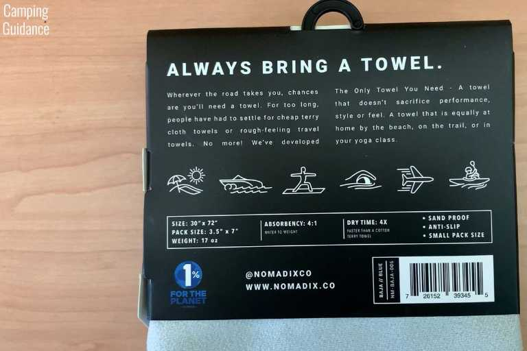 The back packaging of the unopened Nomadix Original Towel.