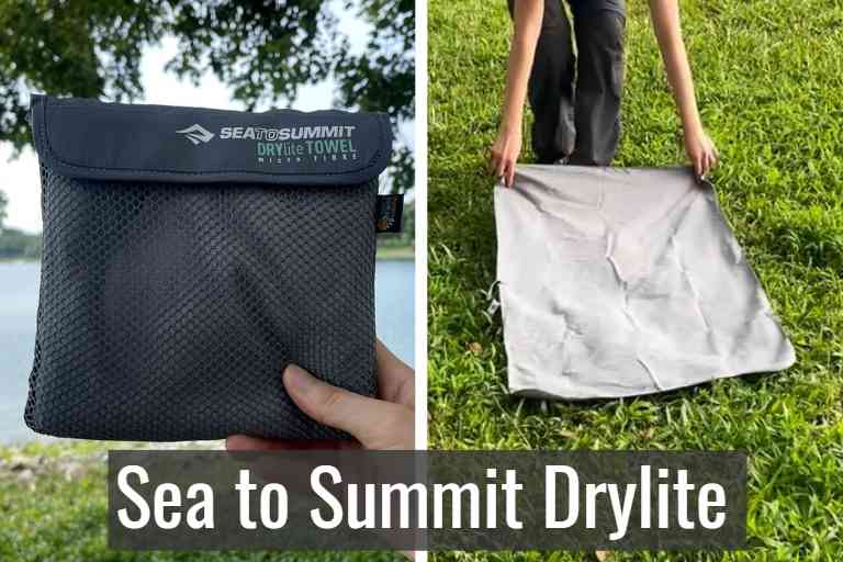 Sea to Summit DryLite towel in storage pouch (left), and Sea to Summit DryLite towel unfolded (right).