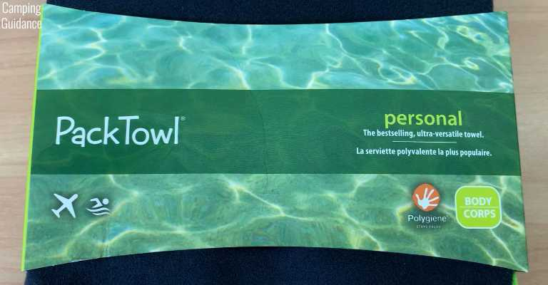 Front packaging of an unopened PackTowl Personal towel.