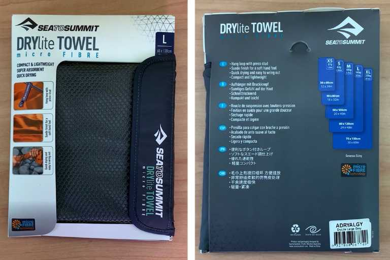 Front packaging (left) and back packaging (right) of the Sea to Summit Drylite Towel.
