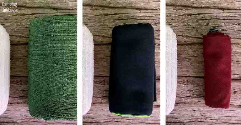 The PackTowl Luxe (left) is a fluffy towel, the PackTowl Personal (middle) is not as fluffy a camping towel, and the Matador NanoDry (right) is the ultra-lightweight type of towel.