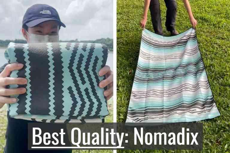 Nomadix towel folded (left), and Nomadix towel unfolded (right).