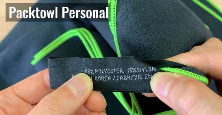 The PackTowl Personal is made from 85% polyester and 15% nylon, which is a microfiber blend.