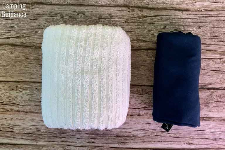 The Rainleaf Towel (right) and the cotton towel (left) in a packed size comparison - The Rainleaf towel packs down many times smaller than a regular cotton towel.