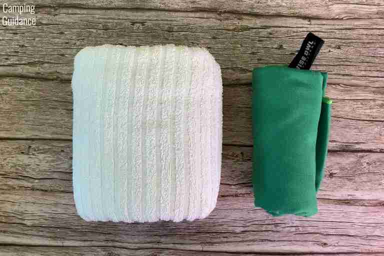 Putting a cotton towel (left) and the Wise Owl Outfitters Towel (right) side by side for a packed size comparison.