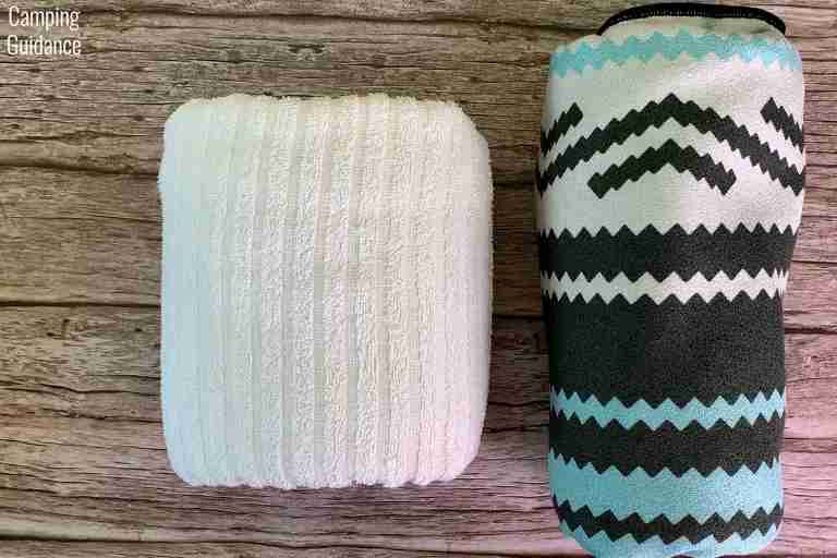 Putting a cotton towel (left) and the Nomadix Original Towel (right) side by side for a packed size comparison.