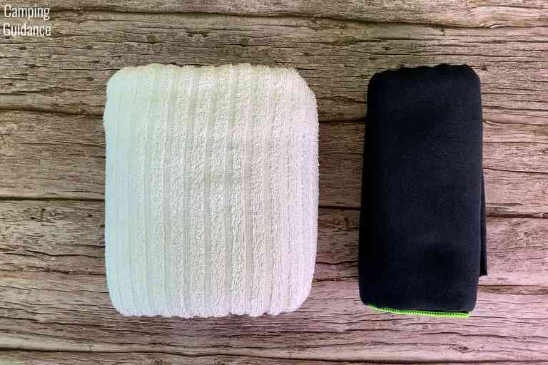 Putting a cotton towel (left) and the PackTowl Personal (right) side by side for a packed size comparison.