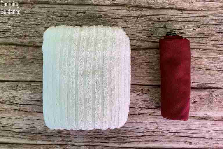Putting a cotton towel (left) and the Matador NanoDry (right) side by side for a packed size comparison.