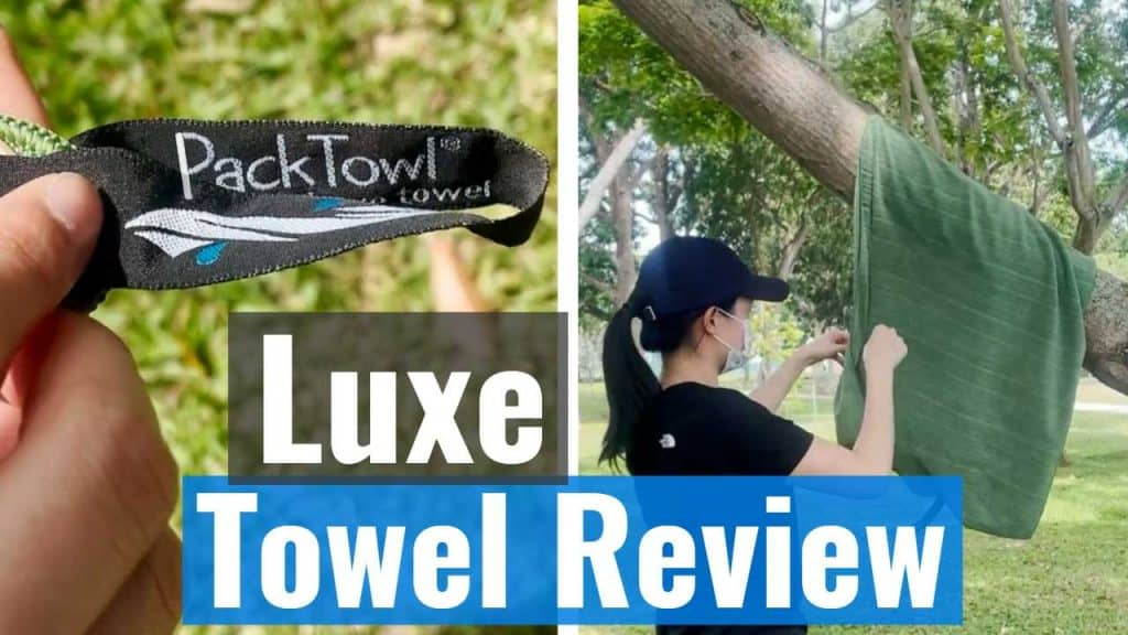 Packtowl Luxe Hanging Loop and Hanging on Tree