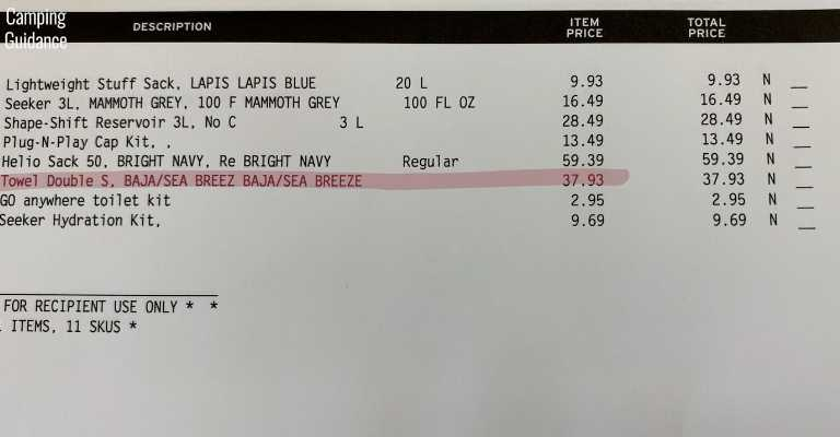 My receipt from REI Co-Op. Red highlight is the Nomadix Original Double-Sided Towel.