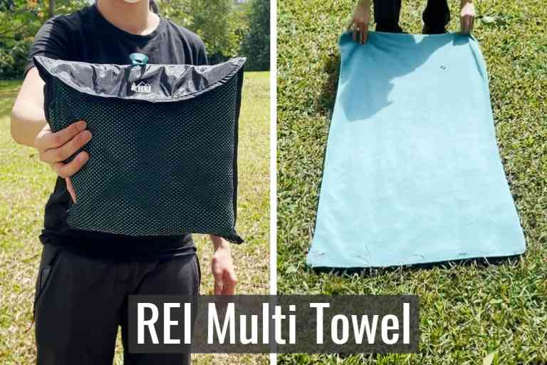 REI Multi towel in storage pouch (left), and REI Multi towel unfolded (right).