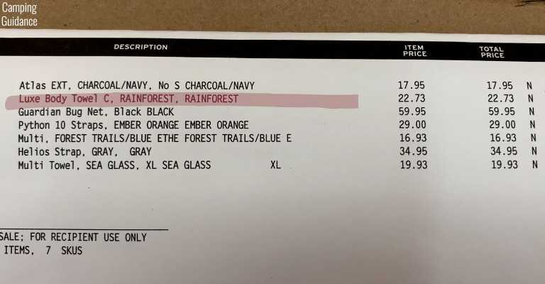 My receipt from REI Co-Op; in this receipt, I bought the PackTowl Luxe (highlighted in red), the REI Multi Towel and the REI Multi Towel Lite.