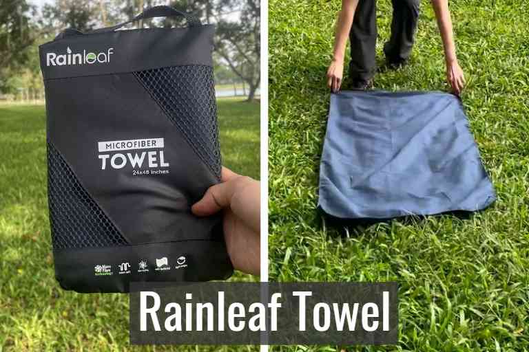 Rainleaf towel in storage pouch (left), and Rainleaf towel unfolded (right).