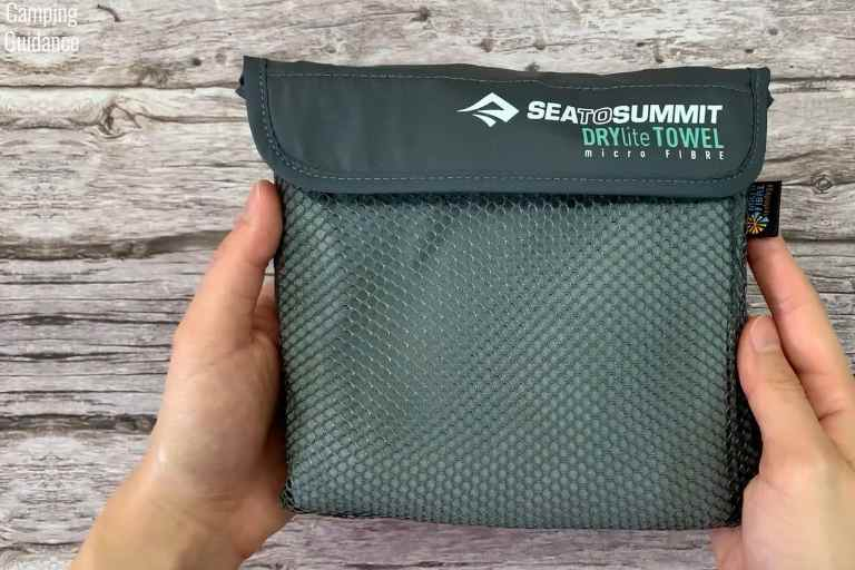 The front of the Sea to Summit Drylite towel storage pouch.