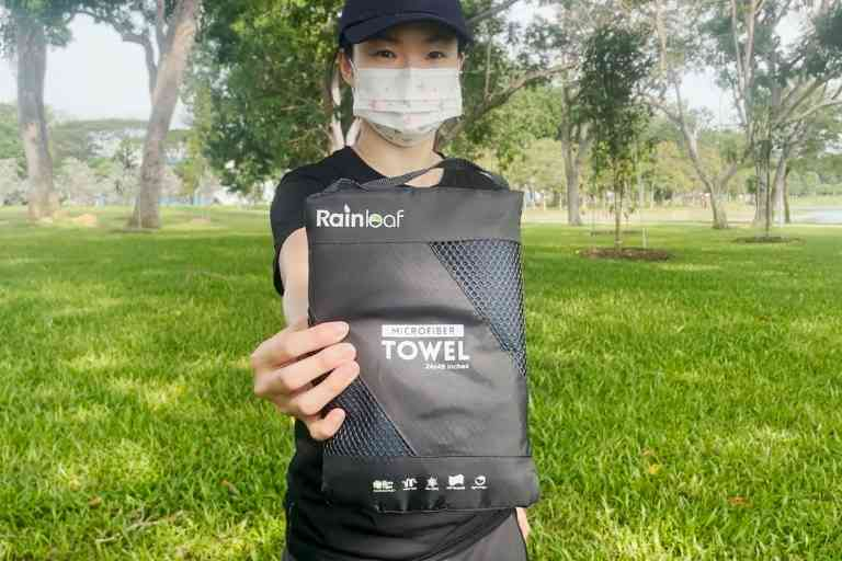 The Rainleaf Microfiber Towel in its storage pouch.