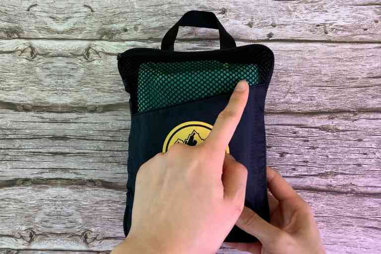 The mesh opening in the storage pouch of the Wise Owl Towel provides a little bit of ventilation.
