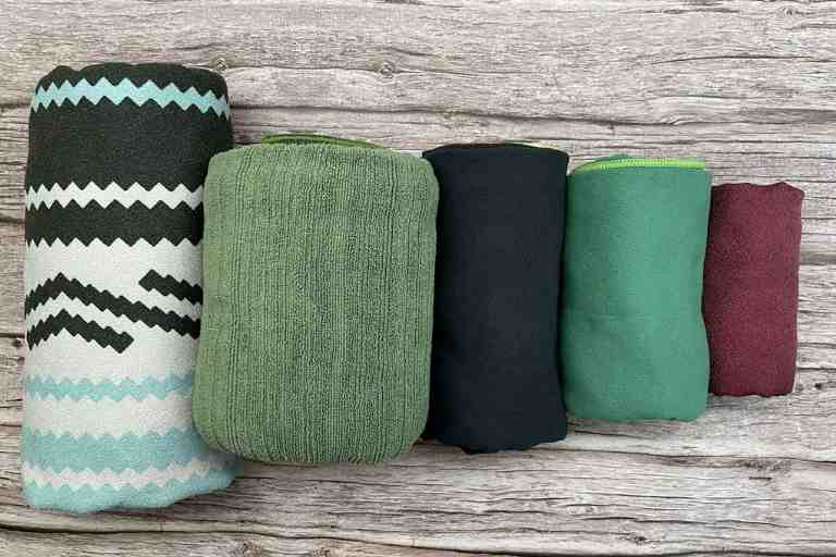 My Top 5 Picks for best camping towels, from least compact to most compact.