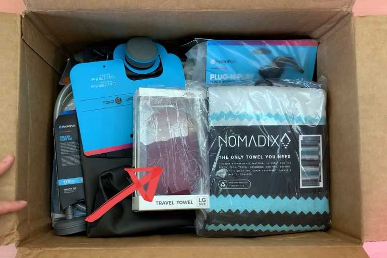 My package from REI Co-Op, which includes the Matador NanoDry towel.