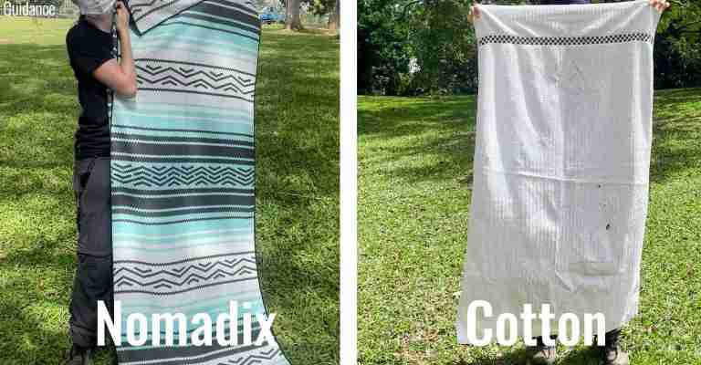 Unpacked size of the Nomadix Original Towel compared to a regular cotton bath towel.