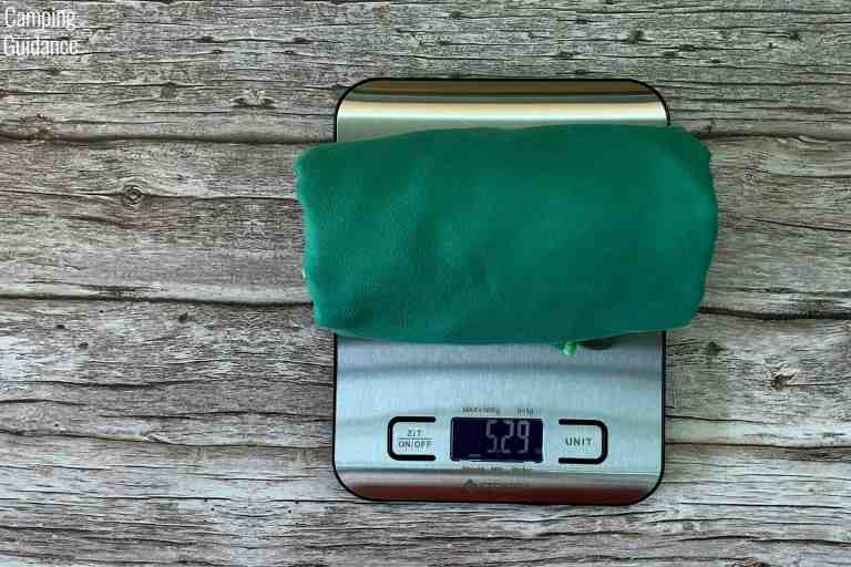 Weighing the Wise Owl Outfitters Towel in ounces - 5.29 ounces.