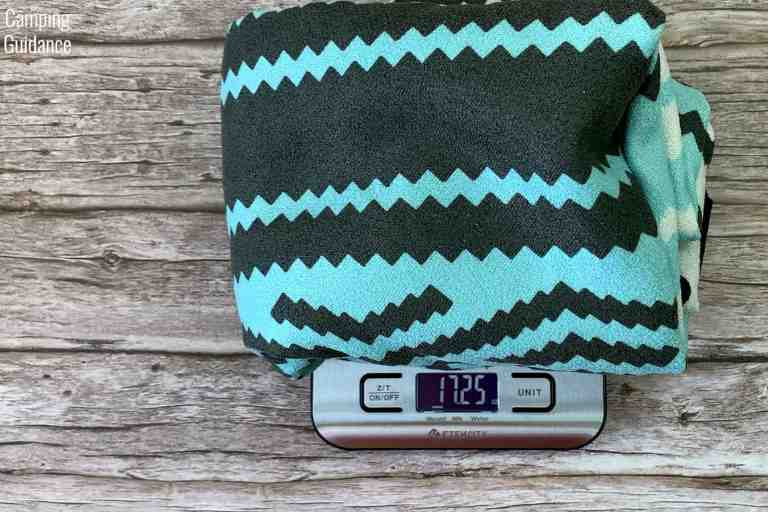 Weighing the Nomadix Original Towel in ounces – 17.25 ounces.