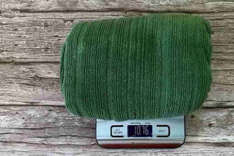 Weighing the PackTowl Luxe in ounces – 10.76 ounces.