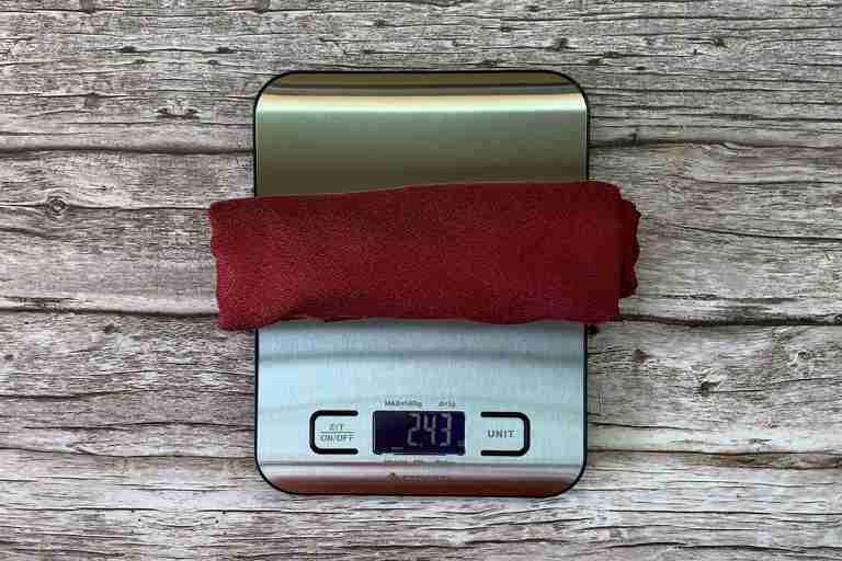 Weighing the Matador NanoDry towel in ounces – 2.43 ounces.