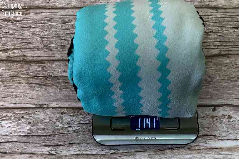 Weight of the Nomadix Original towel after wringing - 1,141 grams (or 40.2 ounces)
