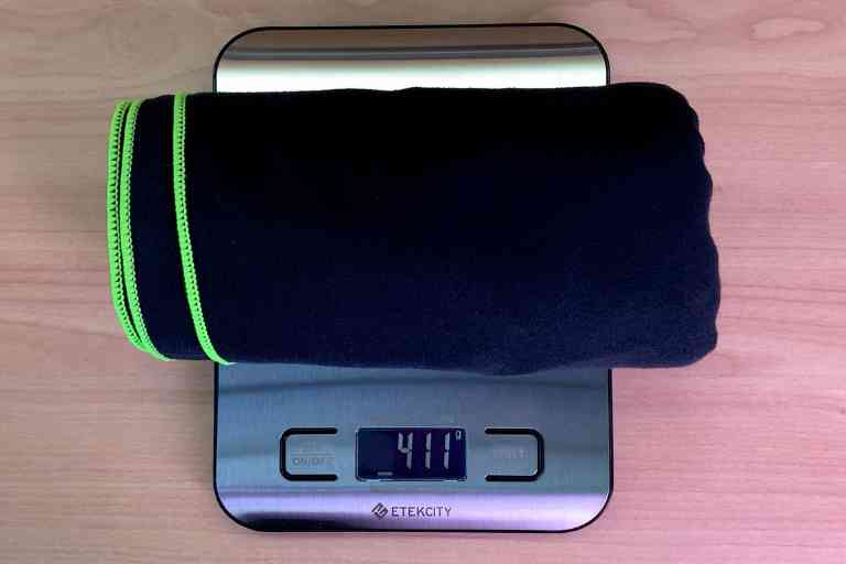 Weight of the PackTowl Personal after wringing – 411 grams (or 14.5 ounces)