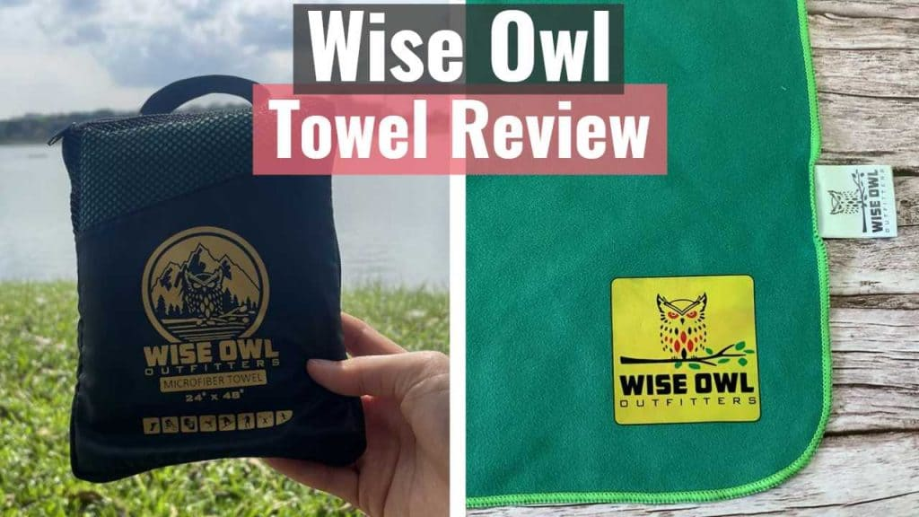 Wise Owl towel in storage pouch and logo of the Wise Owl towel