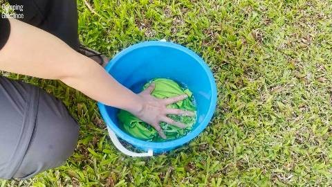 I soaked the Sea to Summit Pocket Towel in a bucket to test its absorbency.