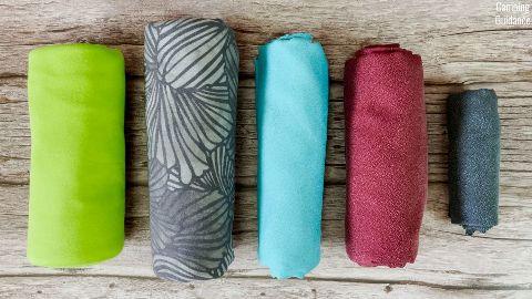 From left to right: Sea to Summit Pocket Towel, PackTowl UltraLite, Sea to Summit AirLite Towel, Matador NanoDry Shower Towel, and Matador NanoDry Trek Towel.