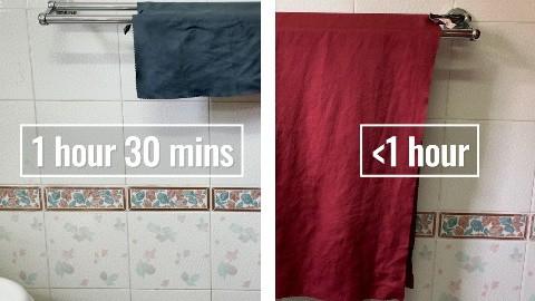 Drying the Matador NanoDry Trek Towel and Shower Towel indoors.