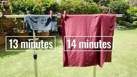 Drying the Matador NanoDry Trek Towel and Shower Towel outdoors.