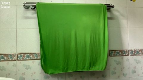 Drying the Sea to Summit Pocket Towel indoors.