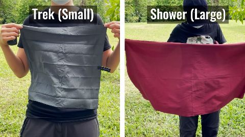 Sizing of the Matador NanoDry Trek Towel (left) and the Shower Towel (right)