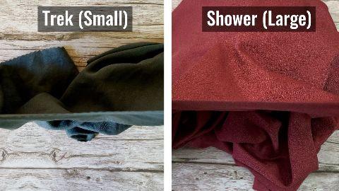 Thickness of the Matador NanoDry Trek Towel (left) and Shower Towel (right).