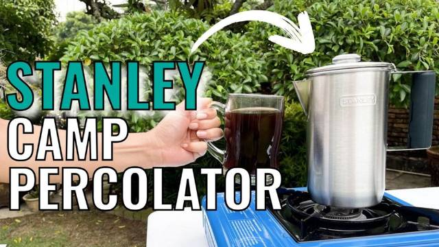 Brewing coffee outdoors with the Stanley Camp Percolator.