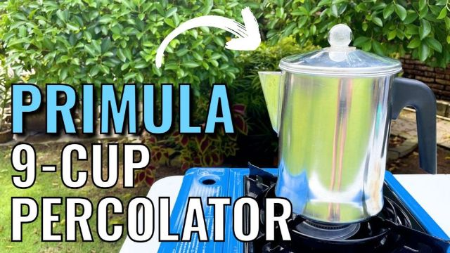 Brewing coffee outdoors in the Primula Today Aluminum 9-Cup Percolator.