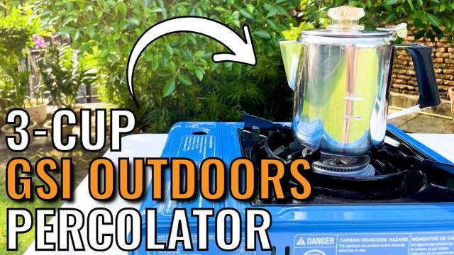 Brewing coffee outdoors with the GSI Outdoors Glacier 3-Cup Percolator.
