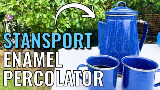 Brewing and drinking coffee outdoors with the Stansport 8-Cup Enamel Percolator and the enamel mugs.